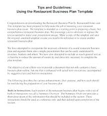 A Simple Business Plan Template Restaurant Business Plan Template