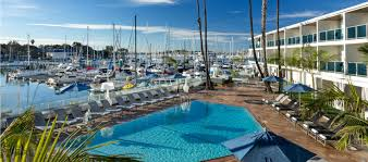 outdoor pool overlooking marina