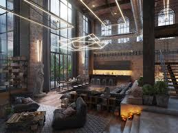 industrial loft lighting. Loft Living Room Design With Modern Industrial Style Lighting L