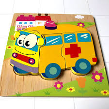 Đồ Chơi lắp ghép Gỗ Dành Cho Bé 2 Tuổi Trở Lên PuzzleToys - Xếp hình Xe cứu  thương - rete0023-SHOP-0201