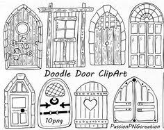 door clipart black and white. BIG SET Of Doodle Summer Cliparts, Hand Drawn Vacation Clipart, Digital Clip Art, Png, Eps, Ai, Vector Personal And Commercial Use Door Clipart Black White