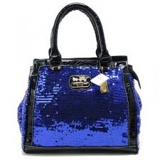 Coach Poppy In SequIn Signature Medium Blue Totes AEF