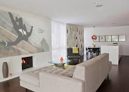 flat screen tv in living room designs. example of a 1960s open concept dark wood floor family room design in orange county with flat screen tv living designs i