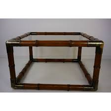 vintage square coffee table in wood metal and glass 1970s design market
