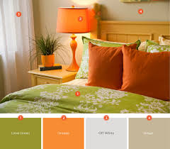 pull together a bedroom that incorporates your favorite color and season this green and orange color scheme is accomplished through picking bright bedding