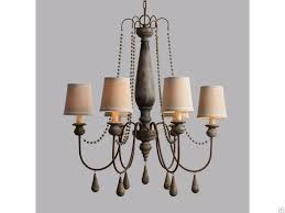 6 arms double deck fabric lamp shade antique brass modern wooden candle chandelier