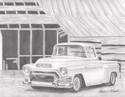 1956 Gmc Pickup Truck Art Print Drawing by Stephen Rooks