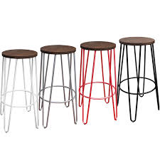 tall 75cm hairpin stools available in black red silver and white
