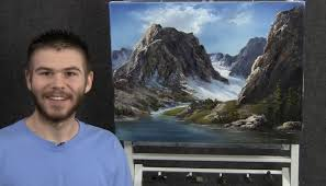 kevin hill is a 21 year old painter from california he started painting by watching painting shows on pbs most likely the joy of painting with bob ross