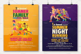 summer fun run flyer poster flyer templates on creative market