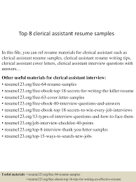 Clerical Assistant Resume Sample Top224clericalassistantresumesamples224conversiongate224thumbnail24jpgcb=12429922246246 6