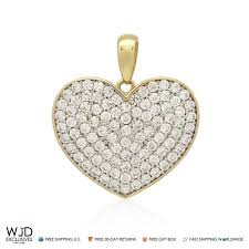 14k solid yellow gold 1ct round cut pave set simulated diamond heart pendant wjd exclusives