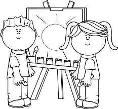 Small Picture Boy And Girl Art Paint Coloring Page Wecoloringpage