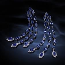 blue sapphire with diamonds earrings
