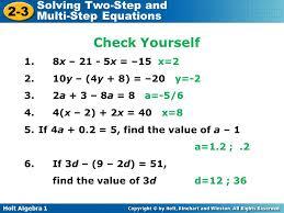 holt algebra 1 2 3 solving two step and multi step equations solve 6 holt