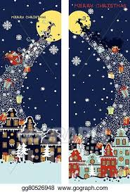 Vector Stock Christmas Vertical Banner Set Santa Claus Coming To