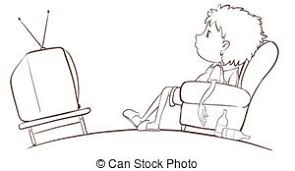 watching tv clipart black and white. a plain sketch of boy watching tv - illustration a. tv clipart black and white i