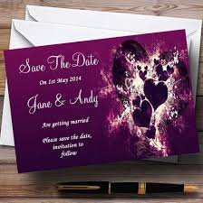 Red Save The Date Cards Purple Hearts Romantic Personalized Wedding Save The Date Cards