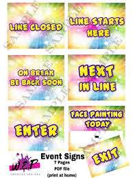 fellow face painter and graphic designer wan perez came up with these clever and professional looking signs you can visit her page here for purchasing