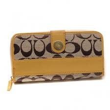 Coach In Signature Large Yellow Wallets CJN