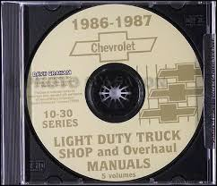 1986 chevrolet ck wiring diagram original pickup suburban blazer 1986 1987 chevrolet truck shop manuals on cd pickup blazer suburban van 30 00