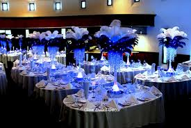 ostrich feather led table centrepieces with crystal chandelier drops
