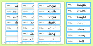 Measures Length Vocabulary Cards Shapes Spaces