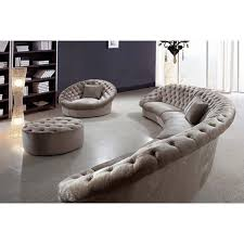 cosmopolitan fabric sectional half round sofa chair and ottoman for luxury modern living room interior design ideas