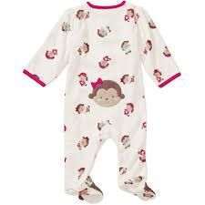 Brand Carter\u0027s Baby girl\u0027s pink monkey sleep and play child of mine fleece footed pajamas
