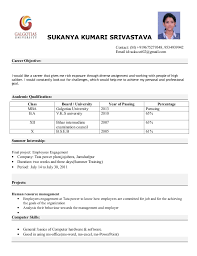 resume model for job mba resume format