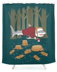 shark shower curtain clever design lumberjack eclectic curtains by giraffe