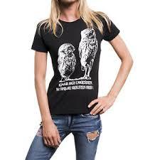 Lustige Damen Shirts Frauen Top Schwarz Eule Lustige Sprüche Funny