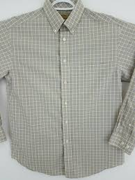 Roundtree Yorke Gold Label Taupe Plaid Long Sleeve Casual