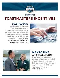 Incentive Flyer Pathways 2018 2019 Incentive District 33 Toastmasters
