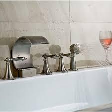 deck mount bathtub faucet with handheld shower head zoom
