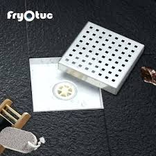 square shower drain bathroom floor cover checker brushed with tile insert grate d