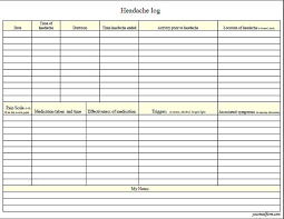Headache Chart Template Fillable Digital Headache Log Pdf Digital Health Forms