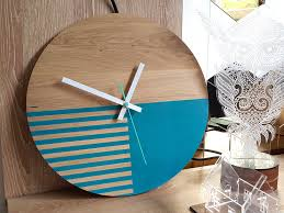 large wood wall clock oak blue lagoon