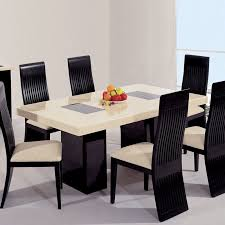 cream black marble dining table 6 chairs