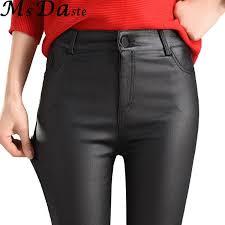 2019 2018 winter women faux leather pants capris pu elastic high waist trousers stretchy slim pencil pants leggings female black from splendid99