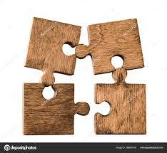 4 four wooden puzzle pieces isolated on white background concept of connection people photo by borjomi88