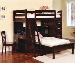 wood bunk bed with desk. Loft Bed Desk Combo Furniture Homesfeed Beds Desks Dark Stained Wood Stairs And Cabinet Syst Full Bunk With