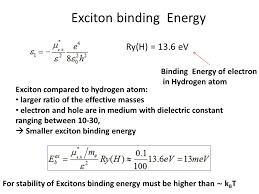 binding energy equation. exciton binding energy equation