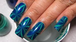Blue & Green Star   Water Marble March 2012 #11   DIY Nail Art ...