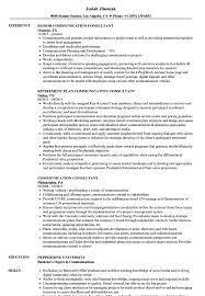 Communication Consultant Resume Samples Velvet Jobs