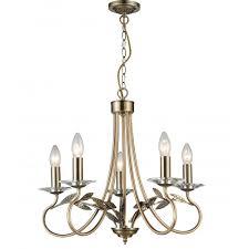 evon 5 light ceiling chandelier in antique brass with crystal scones cf1707 05 ab