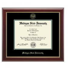michigan state spartans diploma frames campus den  msu gold embossed diploma frame in gallery