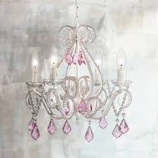 crystal scroll white and pink wide swag chandelier mini