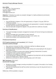 Apartment Property Manager Resume Resume For Property Manager Real