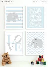 baby boy wall art nursery prints chevron elephant playroom kids boys room decor navy blue